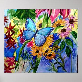 El jardín de Butterflly azul Póster