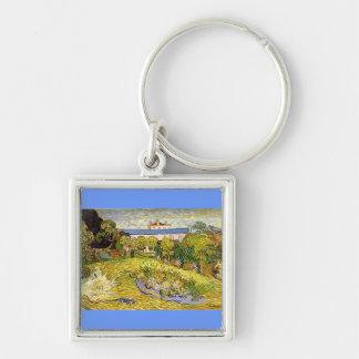El jardín de Daubigny de Vincent van Gogh Llavero Cuadrado Plateado