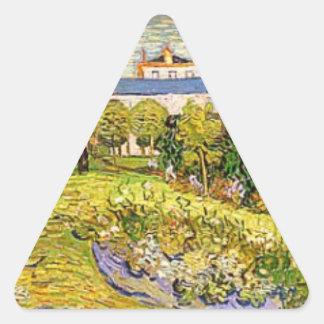 El jardín de Daubigny de Vincent van Gogh Calcomanía Trianguloada