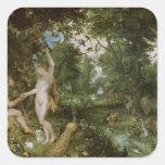 El jardín de Eden con la caída del hombre, c.1615 Pegatina Cuadrada