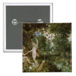 El jardín de Eden con la caída del hombre, c.1615 Pin Cuadrado