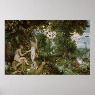 El jardín de Eden con la caída del hombre, c.1615 Póster
