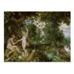El jardín de Eden con la caída del hombre, c.1615 Tarjetas Postales