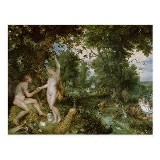 El jardín de Eden con la caída del hombre, c.1615 Postal