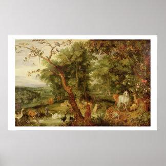 El jardín de Eden; en el fondo el Temptati Póster