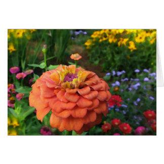 El jardín de flores colorea la tarjeta