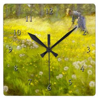 El jardín de Kroyer en Skagen Reloj Cuadrado
