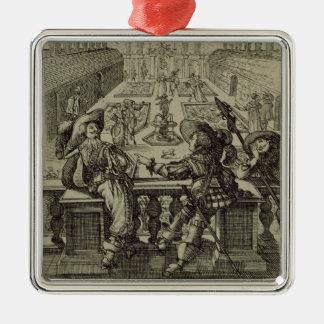 El jardín de la nobleza francesa, c.1640 (engravi adorno navideño cuadrado de metal