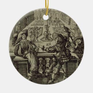 El jardín de la nobleza francesa, c.1640 (engravi adorno navideño redondo de cerámica