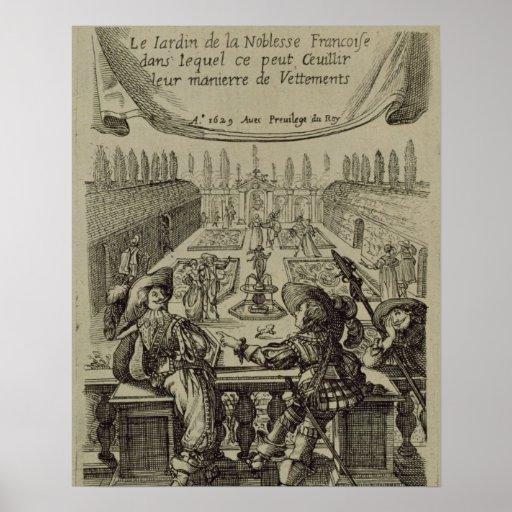 El jardín de la nobleza francesa, c.1640 (engravi posters