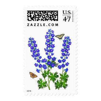 El jardín de Larkspur del Delphinium florece Timbres Postales