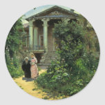 El jardín de las abuelas, por Polenow Wassilij Etiquetas Redondas