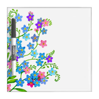 El jardín de las nomeolvides florece al tablero se tablero blanco