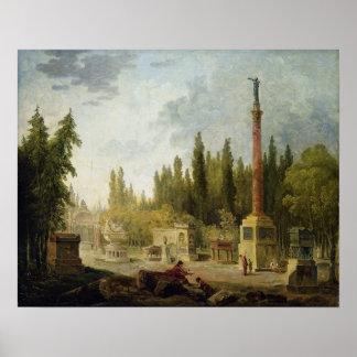 El jardín de los monumentos Francais del DES de Mu Póster
