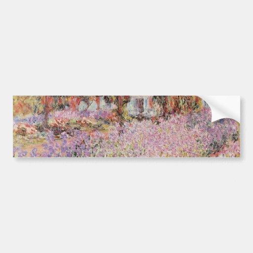 El jardín de Monet amarillo en Giverny, flo de Cla Etiqueta De Parachoque
