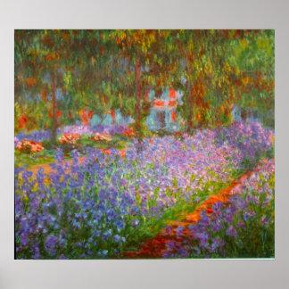 El jardín de Monet de Claude Monet Póster