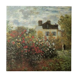 El jardín de Monet en Argenteuil de Claude Monet Azulejo Cuadrado Pequeño