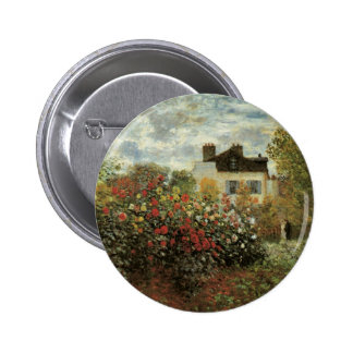 El jardín de Monet en Argenteuil de Claude Monet Pin Redondo De 2 Pulgadas