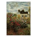 El jardín de Monet en el impresionismo del vintage Tarjeta De Felicitación