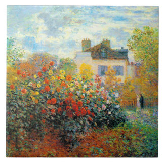 El jardín de Monet en la bella arte de Argenteuil Azulejo Cuadrado Grande