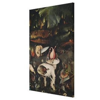 El jardín de placeres terrestres, infierno impresión en lienzo