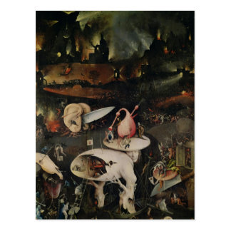 El jardín de placeres terrestres, infierno tarjeta postal