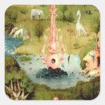 El jardín de placeres terrestres pegatina cuadrada