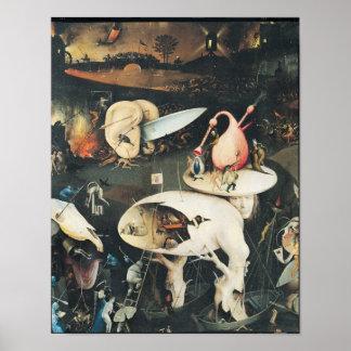 El jardín de placeres terrestres póster