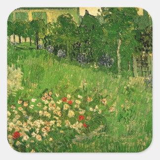El jardín de Van Gogh Daubigny, vintage florece Calcomania Cuadradas Personalizada