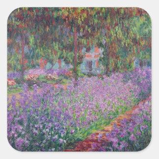 El jardín del artista en Giverny, 1900 Calcomanía Cuadradas Personalizadas