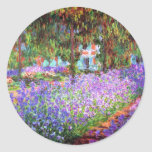 El jardín del artista en Giverny, Claude Monet Etiquetas Redondas