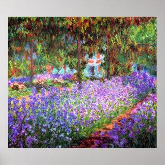 El jardín del artista en Giverny, Claude Monet Póster