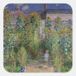 El jardín del artista en Vetheuil, 1880 Pegatina Cuadradas