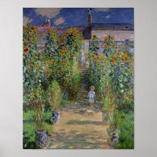 El jardín del artista en Vetheuil, 1880 Póster