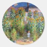 El jardín del artista en Vetheuil, Claude Monet Etiqueta Redonda