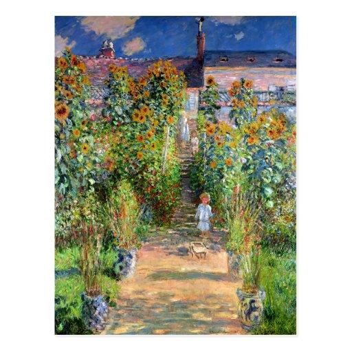 El jardín del artista en Vetheuil, Claude Monet Tarjeta Postal