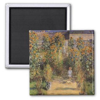 El jardín del artista en Vetheuil de Claude Monet Imán Cuadrado