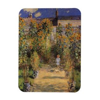 El jardín del artista en Vetheuil de Claude Monet Imanes De Vinilo