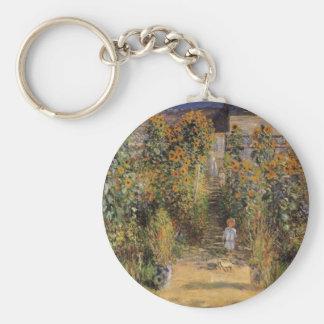 El jardín del artista en Vetheuil de Claude Monet Llavero Redondo Tipo Pin