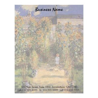El jardín del artista en Vetheuil de Claude Monet Plantillas De Membrete