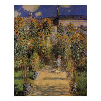 El jardín del artista en Vetheuil de Claude Monet Póster