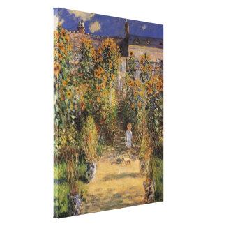 El jardín del artista en Vetheuil de Monet, arte d Impresión En Lona Estirada