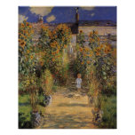 El jardín del artista en Vetheuil de Monet, arte d Poster