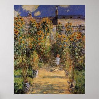 El jardín del artista en Vetheuil de Monet, arte Póster