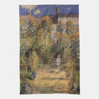 El jardín del artista en Vetheuil de Monet, arte Toalla De Cocina