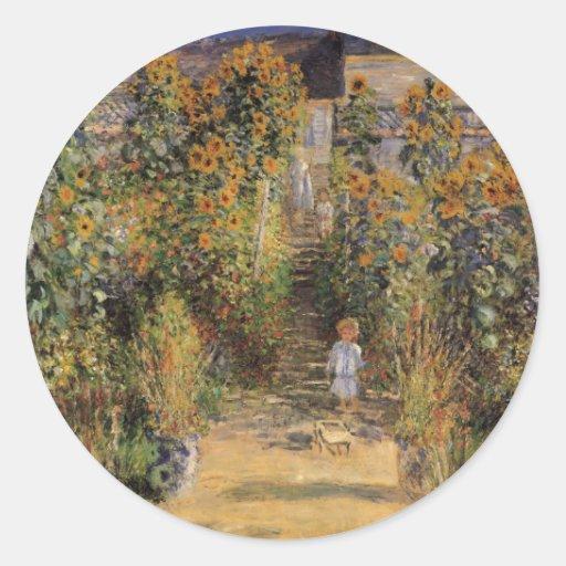 El jardín del artista en Vetheuil de Monet, arte Etiquetas Redondas