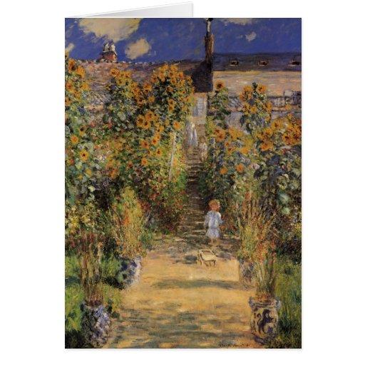 El jardín del artista en Vetheuil de Monet, arte Tarjeta De Felicitación