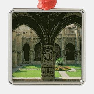 El jardín del claustro adorno navideño cuadrado de metal
