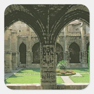 El jardín del claustro pegatina cuadrada
