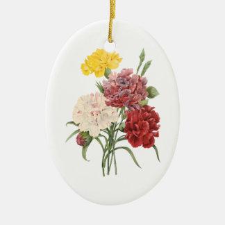 El jardín del clavel de los claveles del vintage adorno ovalado de cerámica
